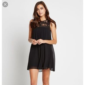 BCBG babydoll dress with lace trim